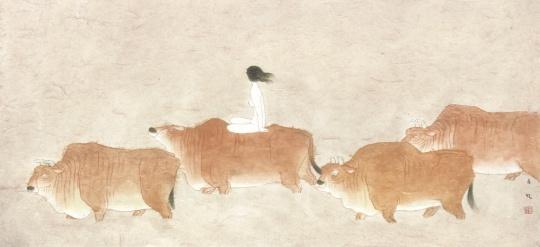 《过溪》 45×97cm 纸本设色 2007