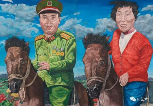 刘炜《革命家庭系列:云游时光(双联作)》在2018年香港苏富比春拍以3558.75万港元成交