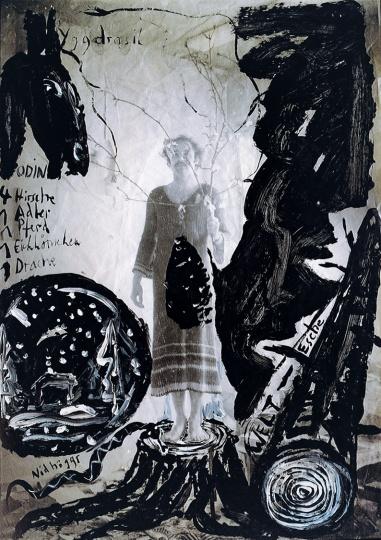 《世界树》 82.6×58.7cm 摄影照片、水彩、丙烯1980