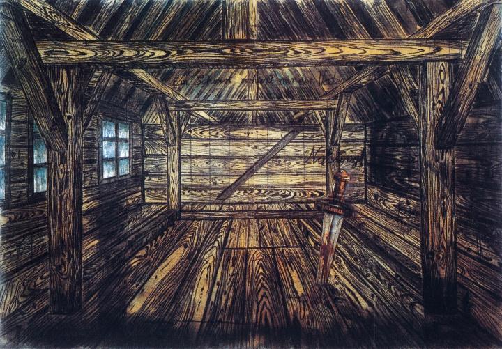 《诺托恩格》 300.5×435.5×4cm粗麻布面油画、木炭、硬纸板炭笔拼贴 1973