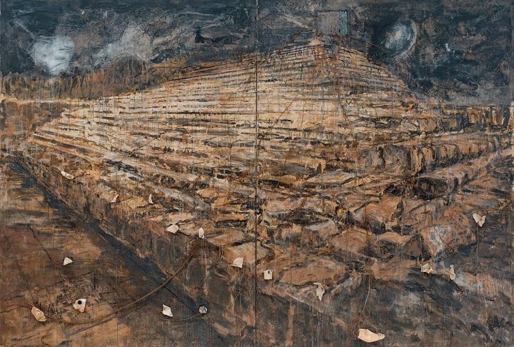 《奥利西斯和伊西斯》379.7×561.3×24.1 cm布面油彩、丙烯、感光乳剂、黏土、陶瓷、铅、钢丝、PCB电路板1985-1987