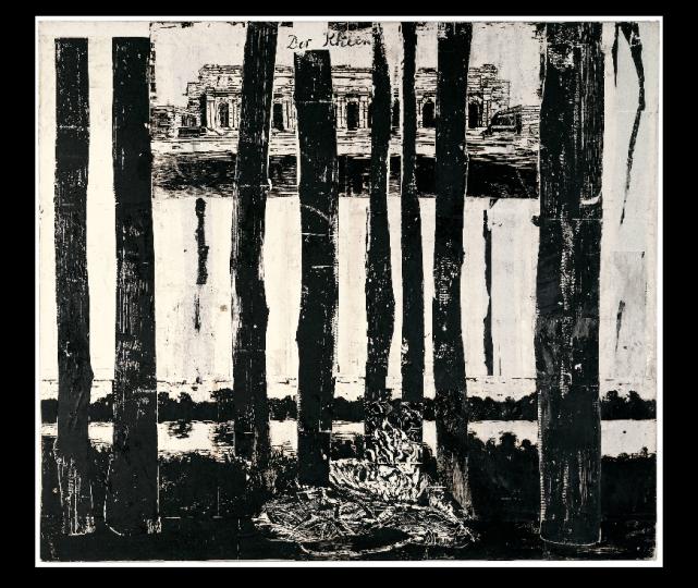 《莱茵河》系列 布面纸上木刻、墨水1982