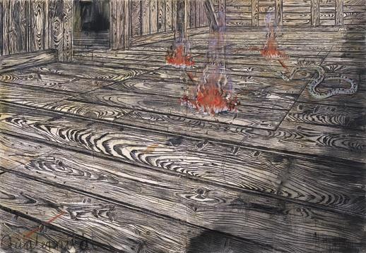 《四位一体》 297.5×435cm麻布木炭油画 1973
