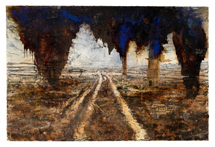 《卡利的坠落》 380×570cm 布面油画、丙烯、乳胶、虫胶2016
