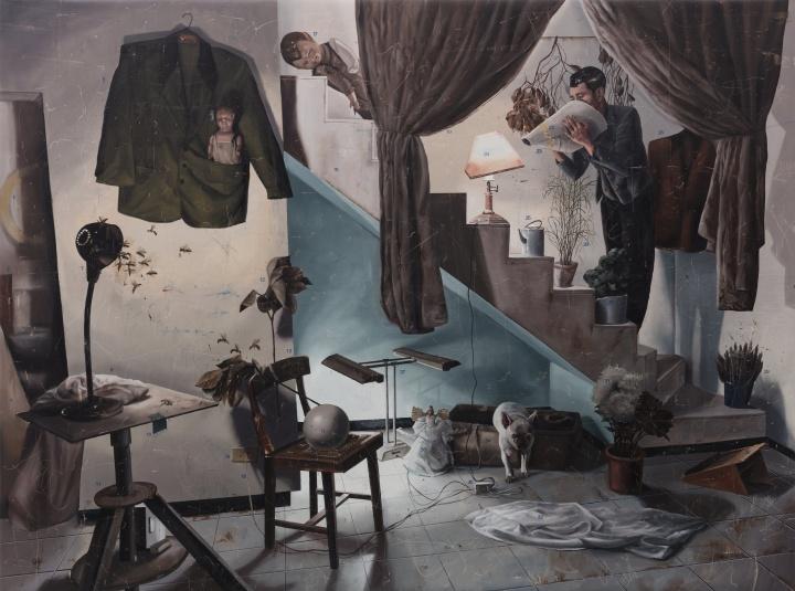 时永骏《楼梯剧》248×333cm 布面油画 2018