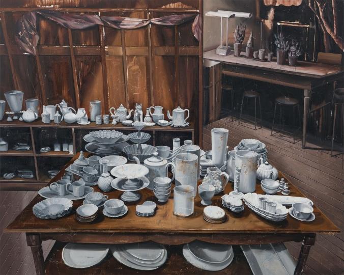 时永骏《放满陶器的大桌》182×227cm 布面油画 2017