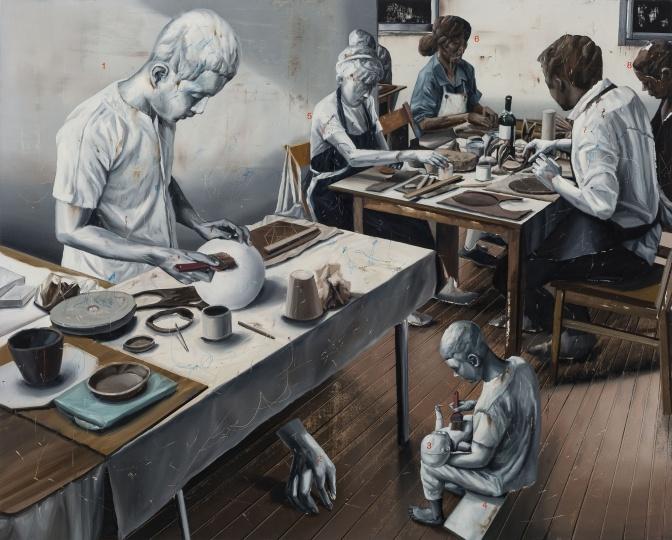 时永骏《陶艺教室》130×162cm 布面油画 2018