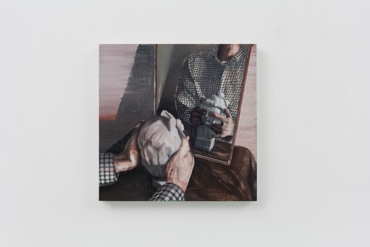 时永骏《照镜子的女孩》65×65cm 布面油画 2017