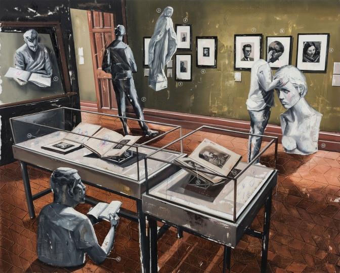 时永骏《肖像图书室》130×162cm 布面油画 2017