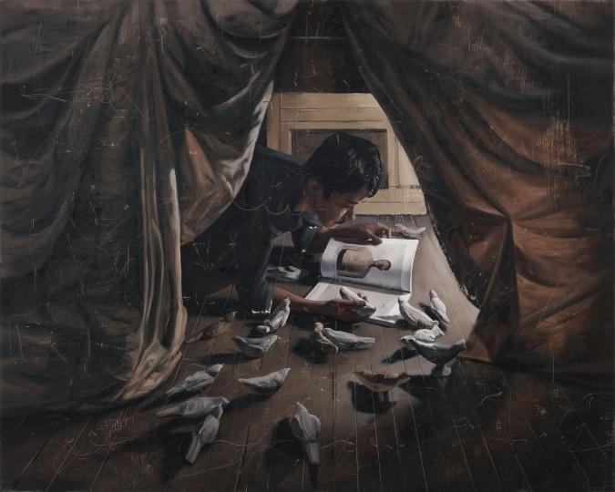 时永骏《帐篷里看书的人》130×162cm 布面油画 2019