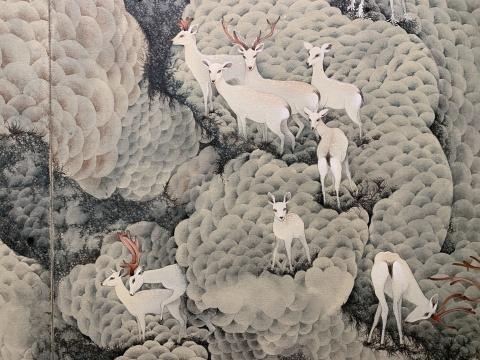 《白鹿之祥》 200×170cm×2 布面丙烯 2019