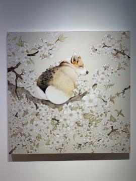 《梨花开,你可好!》 130×130cm 布面丙烯 2018