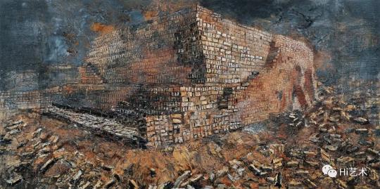 lot 2077 安塞姆·基弗 《新月沃土》 475×950cm 布面丙烯、油彩、虫漆、沙石 2009  估价:1700万-2500万元  二十世纪及当代艺术夜场