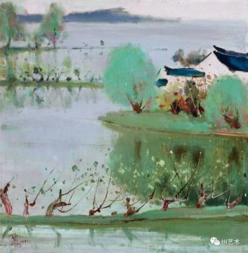 lot 1974 苏天赐 《江南四月》 67.5×66.5cm 布面油画 1991  估价:35万-55万元  二十世纪艺术专场