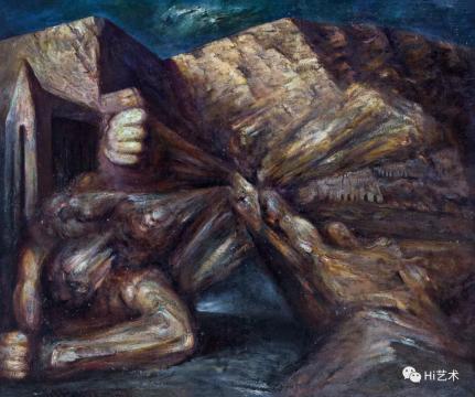 lot 2075 丁方 《走向信仰系列·复活》 150×180cm 布面油画 1988  估价:150万-200万元  二十世纪及当代艺术夜场