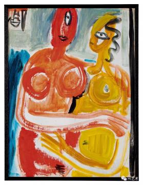 lot 2058 丁衍庸 《恋人》 60×45.5cm 布面油画 1970  估价:220万-320万元  二十世纪及当代艺术夜场