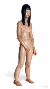向京 《寂静的中心》 170×43×30cm 玻璃钢着色雕塑 2007  成交价:80.5万元,由1588号牌竞得  估价:20万-30万元