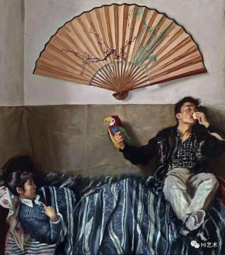赵半狄 《鹦鹉与扇子》 200×175cm 布面油画 1990  成交价:1380万元,由8153号牌竞得  估价:1200万-1800万元