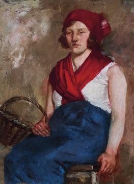 吴作人 《提篮子的少女》74×54cm布面油画 1932  成交价:828万元  估价:650万-850万元