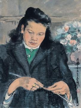 李斛 《织》 41.4×31.5cm 纸本彩墨 1946  成交价:25.3万元  估价:8万-12万元