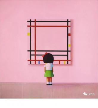 刘野 《BOOGIE WOOGIE,小女孩在纽约》210×210cm 压克力油画画布 2006  成交价:2297.5万港元  估价:1200万-1800万港元,2019香港苏富比春拍