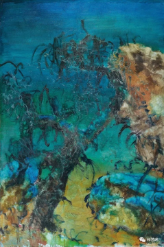 周春芽 《石头系列+与石头联接的树》 195×130cm 油彩画布 1993  成交价:3252.5万港元  估价:1800万-2400万港元,2019佳士得香港春拍
