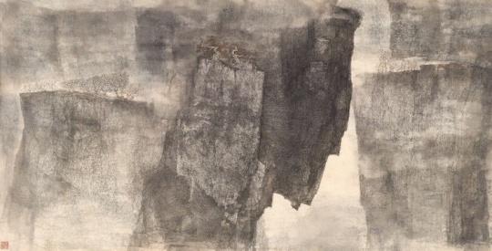 李华弌 《野演》 65.7×128cm 设色 纸本 1999  成交价:200万港元  估价:160万-220万港元,2019佳士得香港春拍