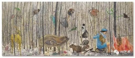 段建宇 《姐姐14号(双联作)》 182.2×434cm 油画画布 2008  成交价:400万港元,刷新艺术家个人拍卖纪录  估价:138万-188万港元,2019佳士得香港春拍
