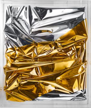 安瑟姆·雷尔《无题》 176×149×24cm 混合材料、丙烯、玻璃2017© Anselm Reyle 摄影:Anselm Reyle Studio 致谢艺术家和阿尔敏·莱希