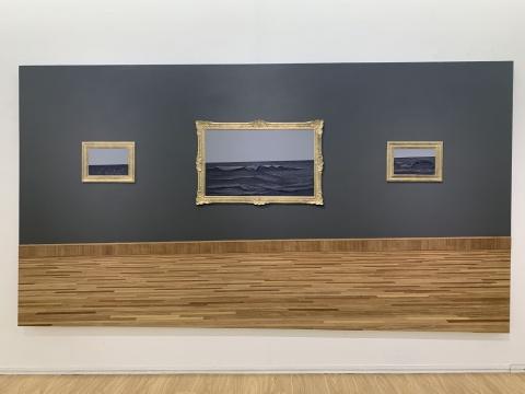《海平线》 400×215cm 板上综合材料 2019