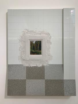 《窗口》 128×100cm 板上综合材料 2019