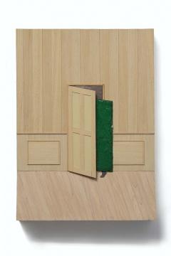 《半开的门》 90×65cm 板上综合材料、油彩 2015