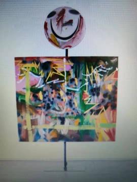 白庆晧《克林特·伊斯特伍德,120 x 140 cm,布面油画、木炭和喷漆, 2016