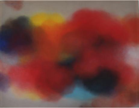 """徐红明,""""非云非雾非炁---- 非红"""",126x161cm,绢布 水性颜料,2019"""