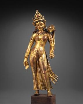 度母立像-西藏,纽瓦丽艺术家-13世纪-鎏金铜、半宝石镶嵌-高.-35cm-Tenzing-Asian-Art,-旧金山