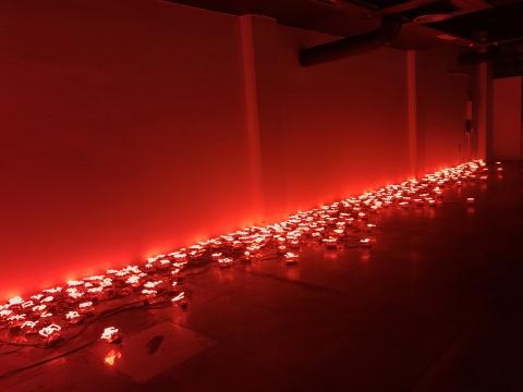 施勇《三百个字》霓虹灯装置2018