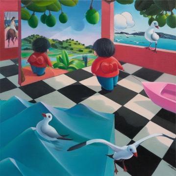 《窥见方寸——六月天的甜蜜阳光撒入房间》布面油画 100x100cm 2018