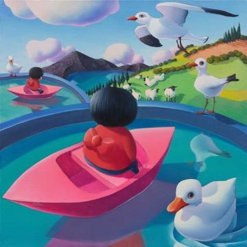 《窥见方寸——白日梦中的无聊失眠》 布面油画 100x100cm 2019