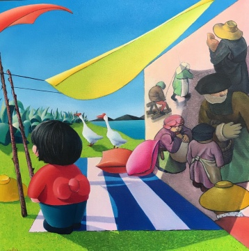 《明媚中飘来一缕勃鲁盖尔 》 布面油画 100x100cm 2019
