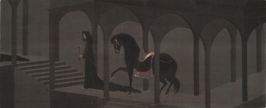 金金《被进化和循环笼罩的诗意系列之3》 156×64cm 绢本设色