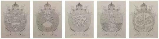 《色、受、想、行、识》100×80cm×5 手工树皮纸、毛笔 2019