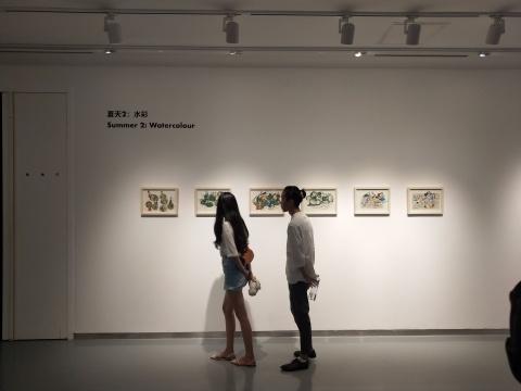 用水彩绘画的女孩来讲故事的廖琛作品