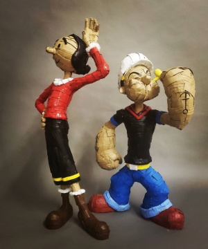 Laurence Vallières《Popeye and Olive Oyl》   高75cm、高81cm 瓦楞纸