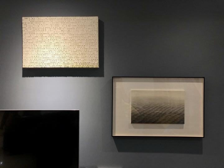 Freda家中的电视墙,下图左为艺术家欧劲作品,右为王牧羽作品