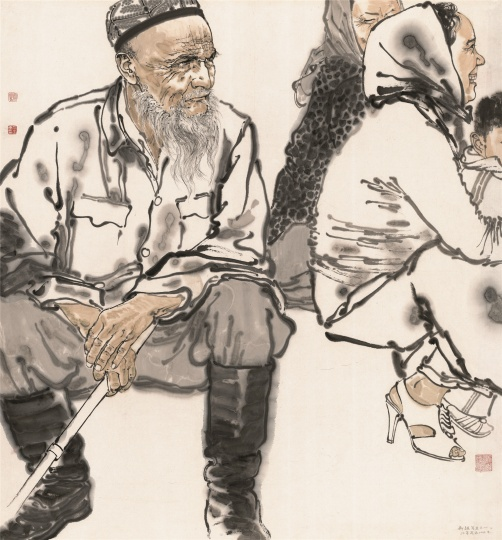 《新疆写生之一》90×90cm 纸本 2010