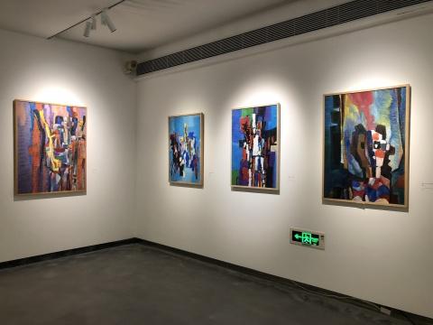 伊萨克.巴依尔的布面油画《镜子里的面像》 系列