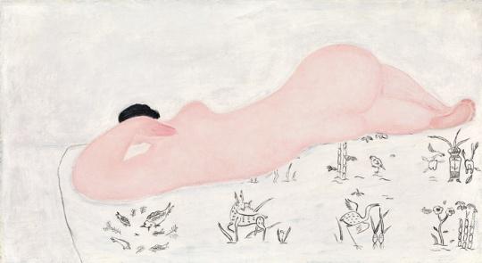 常玉 《中国花布上的粉红裸女》45.2 x 81.2 cm 1930年代  估价: 3500万-4500万港元