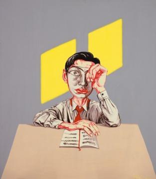 曾梵志《面具系列16号》 150×130cm 油画画布 1997 估价: 600万-800万港元