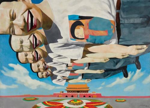 岳敏君 《风筝》181 x 248 油画画布 1995估价: 500万-700万港元