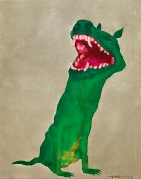 周春芽《绿狗》 150 x 120.5cm 油画画布 1998 估价:300万-500万港元